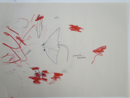 Red drawing ....sometimes sharing a sheet of paper is just perfect